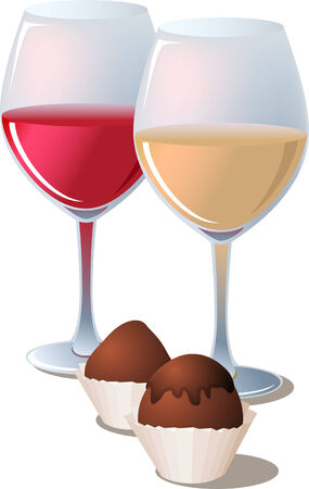 sweetmeat: 2 glasses of wine with chocolate