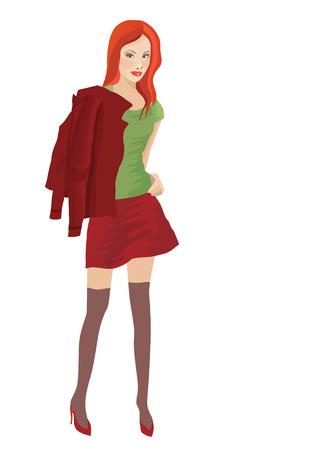 short skirt: A woman in short skirt. Vector Illustration
