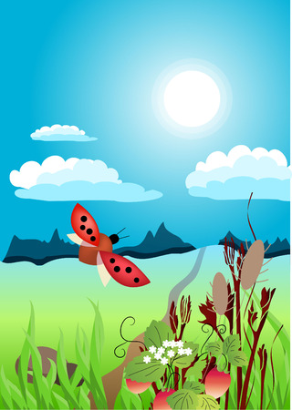 A beautiful summer landscape Stock Vector - 5989270