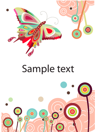 pastel colored:   Vector abstract butterfly and flowers