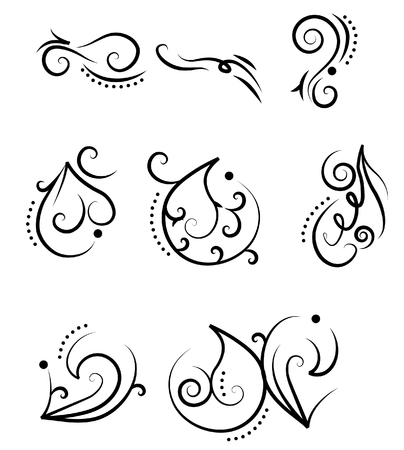 floral design elements: A set of design elements. Tatoo Illustration