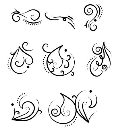 ornamental scroll: A set of design elements. Tatoo Illustration