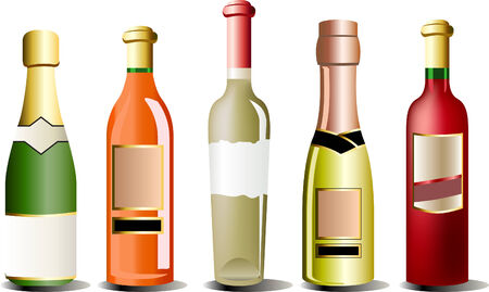A set of realistic vector bottles of alcohol Vector