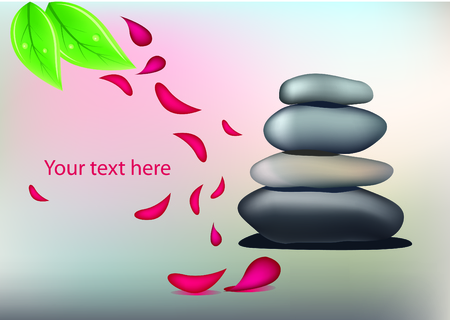 Vector spa stones and petals on beautiful grey background Vector