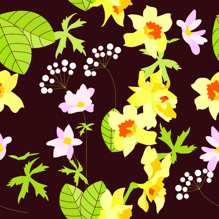 Seamless herbal pattern with daffodils Stock Vector - 5989429
