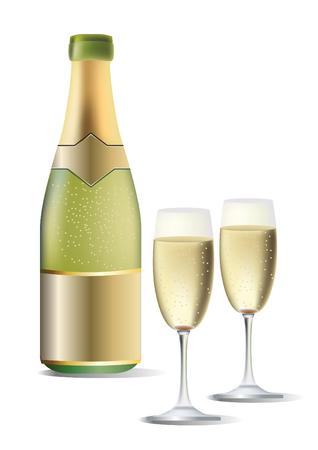 sauvignon: A bottle of wine and two glasses