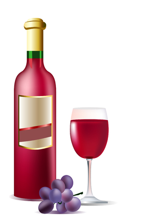 white riesling grape:   Vector realistic bottle of red wine, grape and glass Illustration