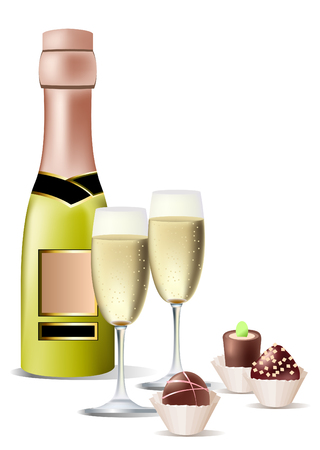 white riesling grape: Vector realistic bottle of wine, sweets and two glasses