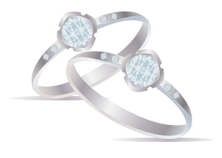 silver ring: Two vector realistic rings with diamonds Illustration