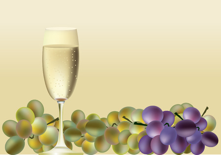 white riesling grape: A glass of wine and a lot of grapes Illustration