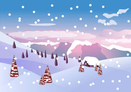 tranquil scene: Winter vector beautiful landscape