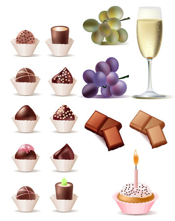 Pretty vector sweet set. Cake, grape, wine and pieces of chocolate.  Vector