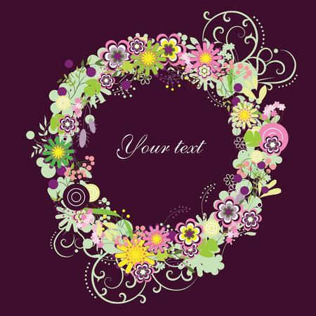 circular frame: Vector floral wreath
