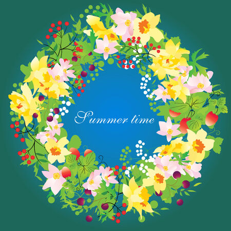 Vector floral wreath with daffodills Vector