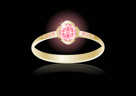 gold ring: A gold ring on black background