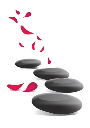 Spa stones and petals Vektoros illusztráció