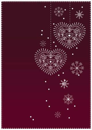 Fondo de Navidad de corazones-copos de nieve  Vectores