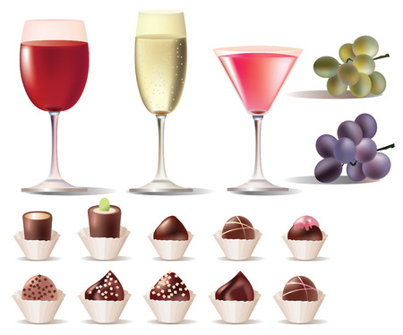 rnart:  pretty set of sweets and wine