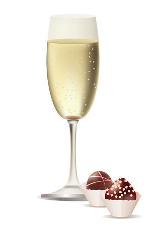 sweetmeat:   glass of champagne and sweets