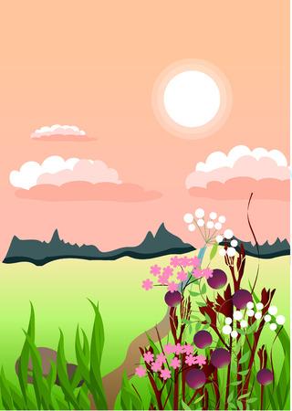 Summer sunset in village  Stock Vector - 7710445