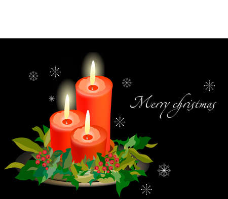 yearrn: Three candles on black background and snowflakes