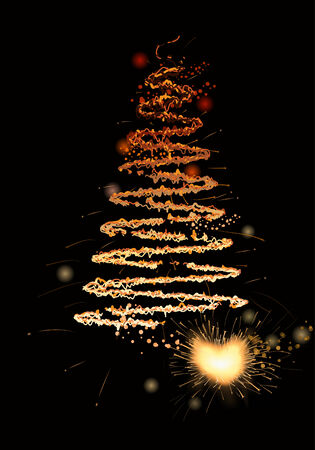 yearrn:   christmas tree drawn with sparkler  Illustration