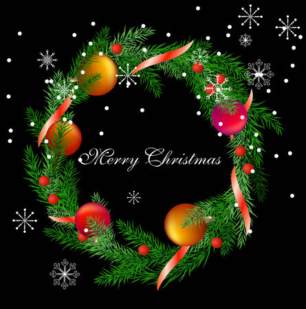 realistic christmas fir wreath  Stock Vector - 7710450