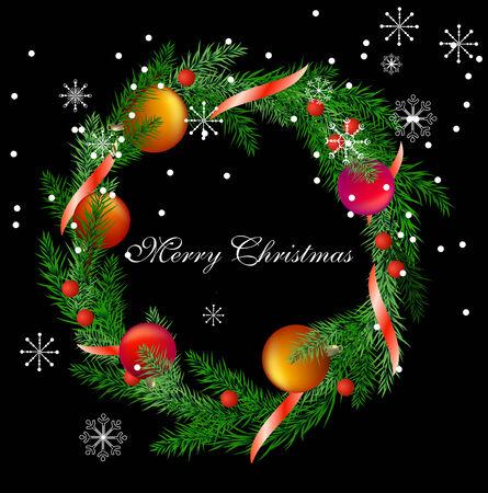 snow wreath:   realistic christmas fir wreath  Illustration