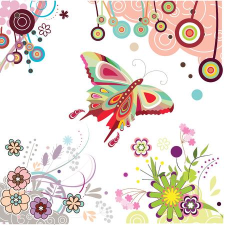 cartoon frame: Insieme di elementi di disegno floreale
