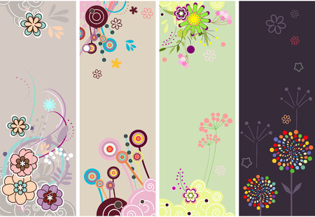 rnabstract: Set of colorful floral  banners