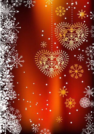 Christmas dark red background with hearts  Vector