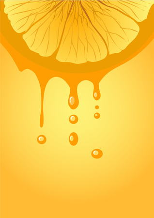 orange and falling drops of juice  Vector