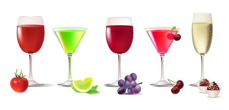 white riesling grape:   set of different drinks Illustration