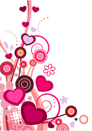 pink heart:   design element  with flowers and hearts