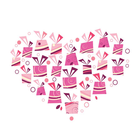 pink bow:   pink heart made of presents