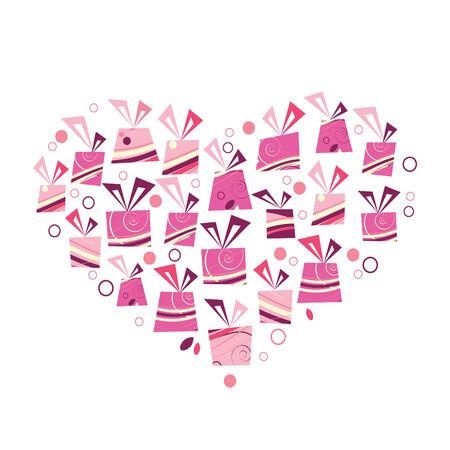 pink ribbon:   pink heart made of presents