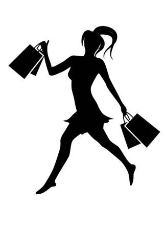 Silhouette of woman with bags Vector