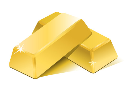 gold treasure:   stacked bars of gold bullion  Illustration
