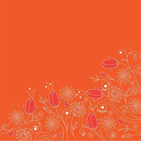 Floral orange  background  Vector