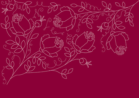 Floral red background with contour of roses Vector