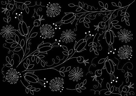 linework: Floral black background with contour of roses Illustration