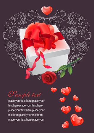hearts, gift and rose Stock Vector - 7710556