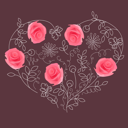 Floral heart with roses Vector