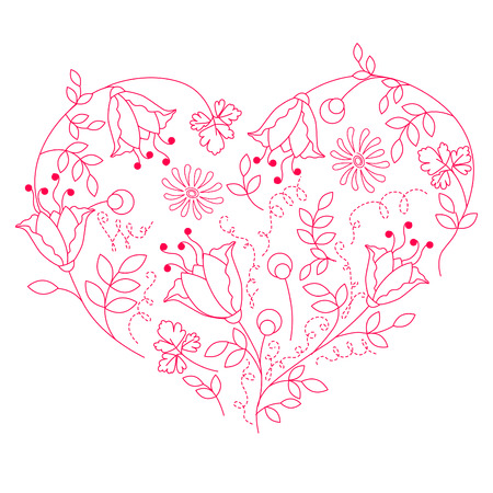 Floral white heart Stock Vector - 7710497
