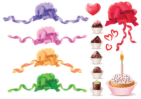 Set of bows and sweets Vector