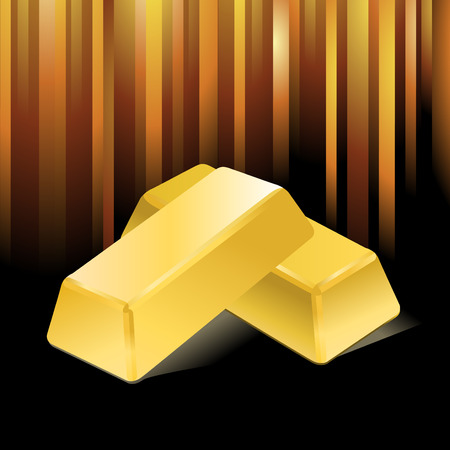 gold bullion:   stacked bars of gold bullion  Illustration
