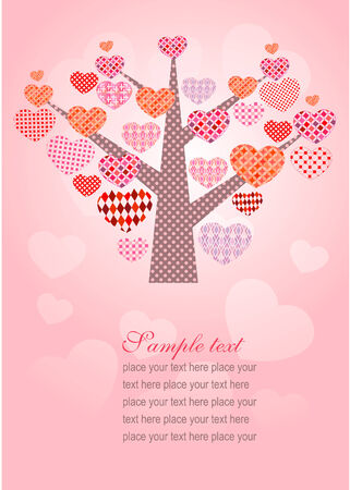 Greeting  card with stylized tree made of small ones