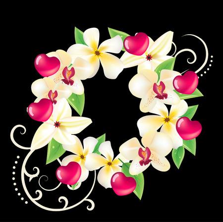 ハワイ ベクトル心、frangipanies、蘭の花と花の花輪