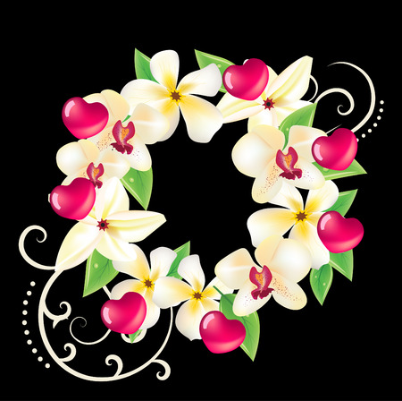 Hawaii vector floral wreath with hearts, frangipanies and orchids Illustration