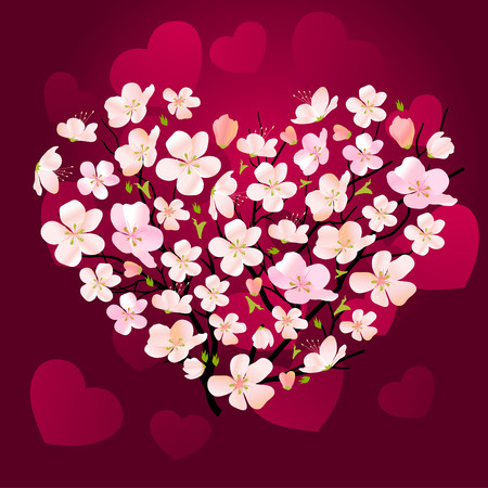 Floral heart made of small cherry flowers  Vector
